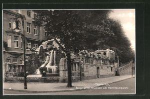 AK Osnabrück, Bergmanns-Brunnen am Herrnteichswall
