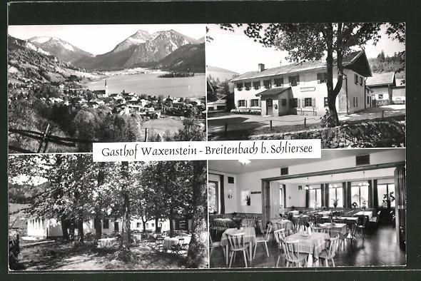 AK Breitenbach / Schliersee, Ortsansicht mit Bergpanorama und Gasthof Waxenstein mit Innenansicht