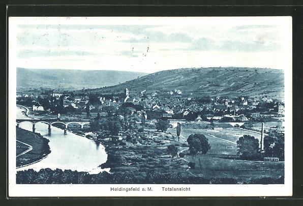 AK Heidingsfeld a. M., Ortspanorama mit Brücke