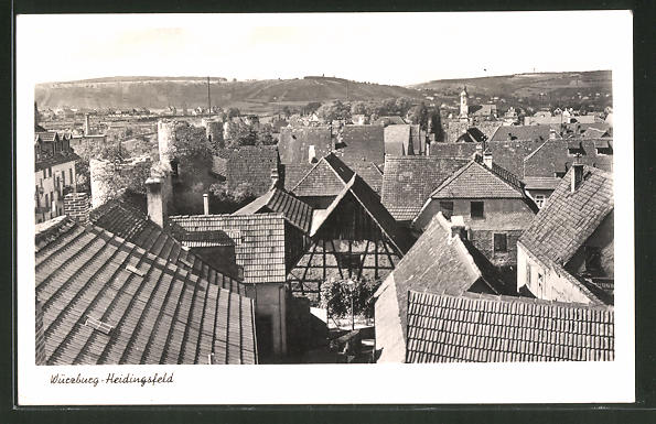 AK Würzburg-Heidingsfeld, Blick über den Ort