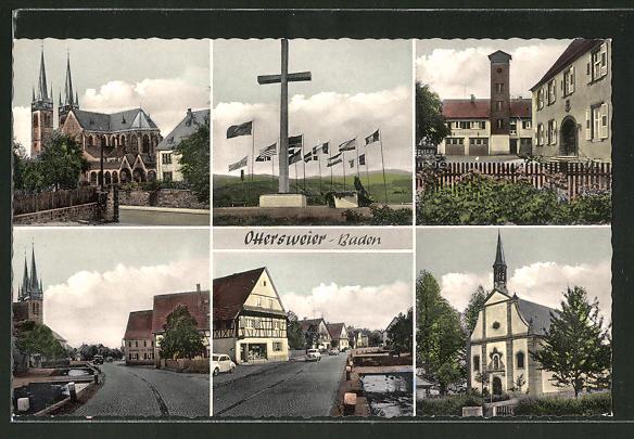 AK Ottersweier / Baden, Kirche, Denkmal, Strassenansichten