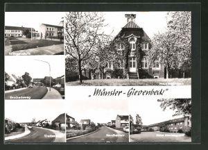 AK Münster-Gievenbeck, Michaelschule, Haus Mariengrund, Haus Rüschhaus & Enschedeweg