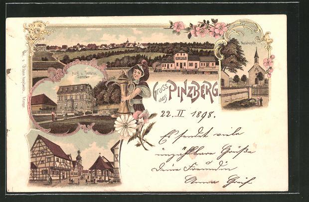 Lithographie Pinzberg, Hotel und Terrasse Zametzer, Mariakapelle