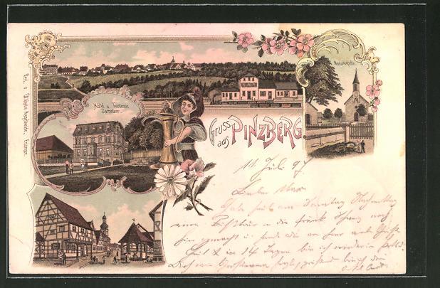 Lithographie Pinzberg, Hotel und Terrasse Zametzer, Mariakapelle, Teilansicht mit Bahnhof