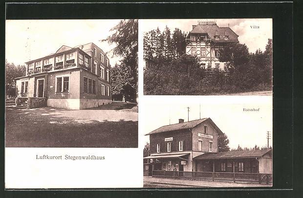 AK Stegenwaldhaus, Bahnhof, Villa, Gebäudeansicht