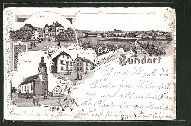 Lithographie Bundorf, Kgl. Post und Schule, Schloss, Kirche
