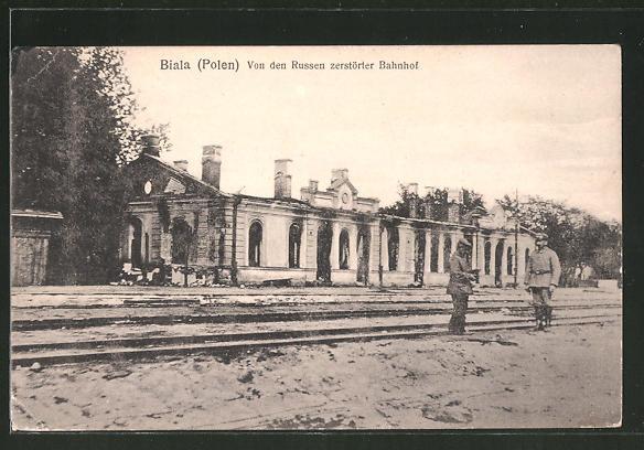 AK Biala, Von den Russen zerstörter Bahnhof