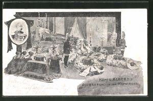 AK Dresden, König Albert von Sachsen, Aufbahrung in der Hofkirche
