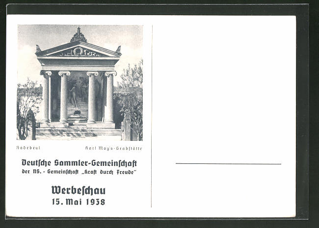 AK Radebeul, D.S.G. Werbeschau im Karl May-Museum, Karl May's Grabstätte