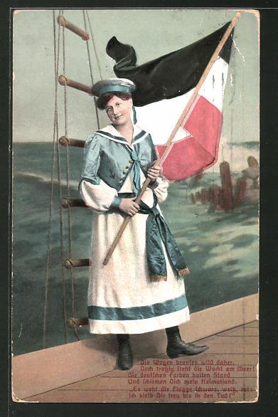 AK Frau in Matrosenuniform mit Reichsfahne