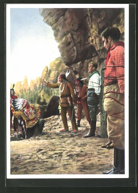 AK Karl May, Am Marterpfahl, Karl-May-Spiele 1938 in Rathen