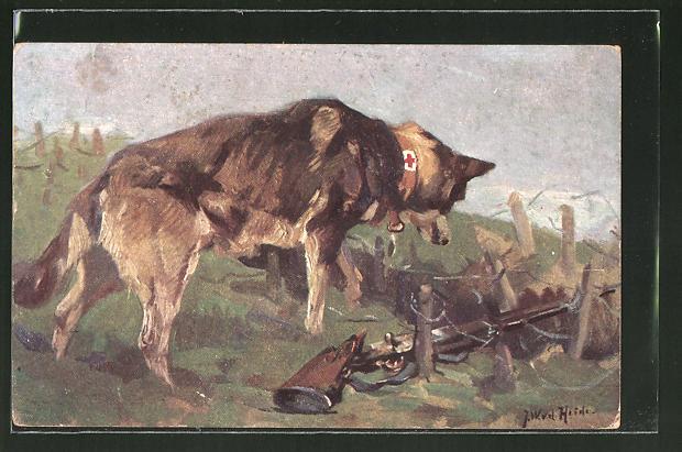 Künstler-AK Sanitätshund entdeckt in einer Wolfsgrube einen Verwundeten