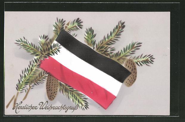 AK Reichsfahne mit Tannenzweig, Weihnachten