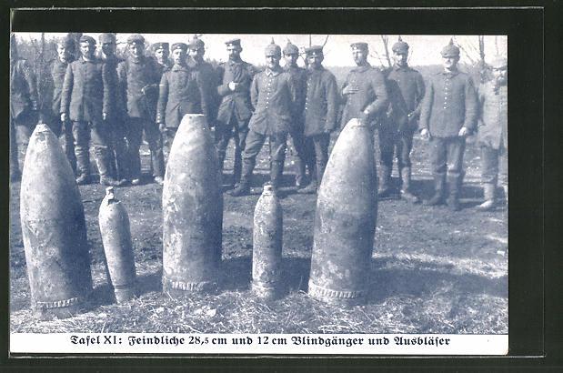 AK Feindliche 28,5 cm und 12 cm Blindgänger und Ausbläser