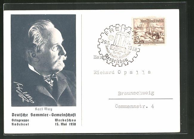 AK Radebeul, D.S.G Werbeschau 1938, Portrait von Karl May