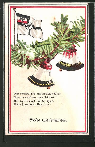 AK Frohe Weihnachten, Glocken und Reichskriegsflagge