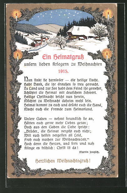 AK Heimatgruss an die Frontsoldaten zu Weihnachten 1915, Gedicht von M. Jentzsch