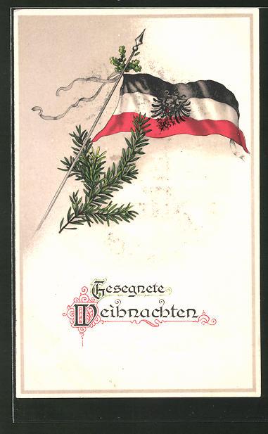 AK Gesegnete Weihnachten, deutsche Fahne