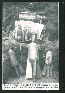 AK Gruppen feindlicher Blindgänger, Torpedogranaten m. Flügeln, Minen, Handgranaten versch. Art