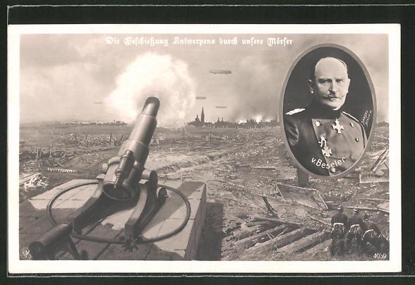 AK General von Beseler, Beschiessung Antwerpens