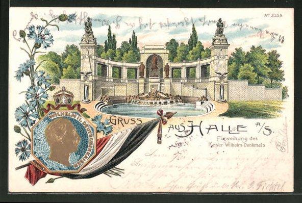 Lithographie Halle a. S., Einweihung des Kaiser Wilhelm-Denkmals, Kornblumen