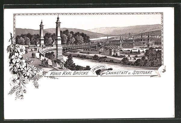 Lithographie Stuttgart-Cannstatt, Blick auf die König Karl Brücke
