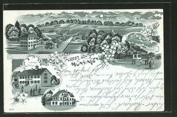 Mondschein-Lithographie Münsingen, Truppenübungsplatz mit Baracken, Ludwigshöhe & Hpotel Fezer
