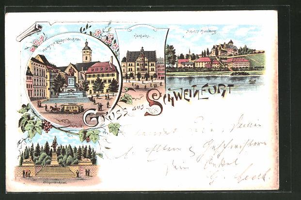 Lithographie Schweinfurt, Schloss Mainberg, Rathaus, Markt mit Rückertdenkmal