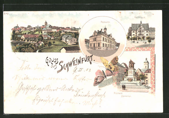 Lithographie Schweinfurt, Postamt, Rückertdenkmal, Rathaus