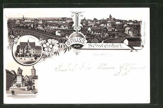 Lithographie Schweinfurt, Rathaus, Rückertdenkmal, Panorama
