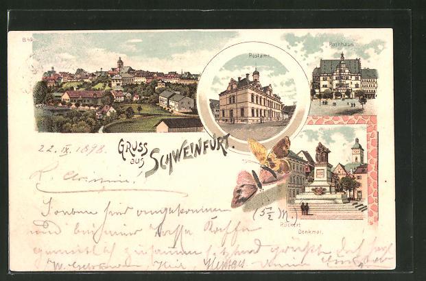 Lithographie Schweinfurt, Postamt, Rathaus, Rückertdenkmal