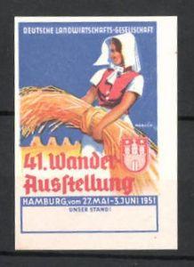 Reklamemarke 41. Wanderausstellung der Deutschen Landwirtschaftsgesellschaft, Bäuerin mit Getreide