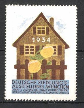 Reklamemarke München, Deutsche Siedlungs-Ausstellung 1934, Haus mit Blumen