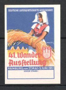 Reklamemarke Hamburg, 41. Wanderausstellung der Deutschen Landwirtschaftsgesellschaft 1951, Bäuerin mit Getreide