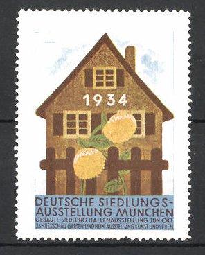 Reklamemarke München, Deutsche Siedlungs-Ausstellung 1934, Haus und Blumen