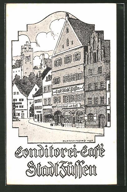 Künstler-AK Füssen, Konditorei-Cafe Stadt Füssen
