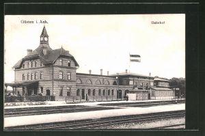 AK Güsten i. Anh., Blick zum Bahnhof