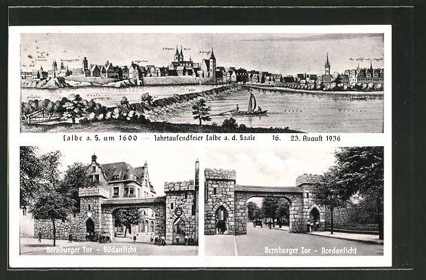 AK Calbe a. S., Historische Ansicht um 1600, Jahrtausenfeier 1936, Partie am Bernburger Tor