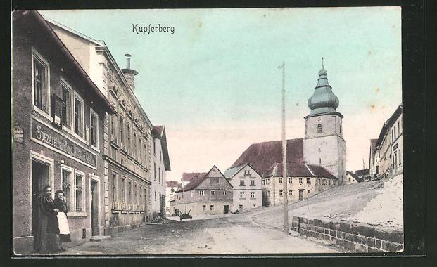 AK Kupferberg, Ortspartie mit Spezereihandlung & Strassenblick