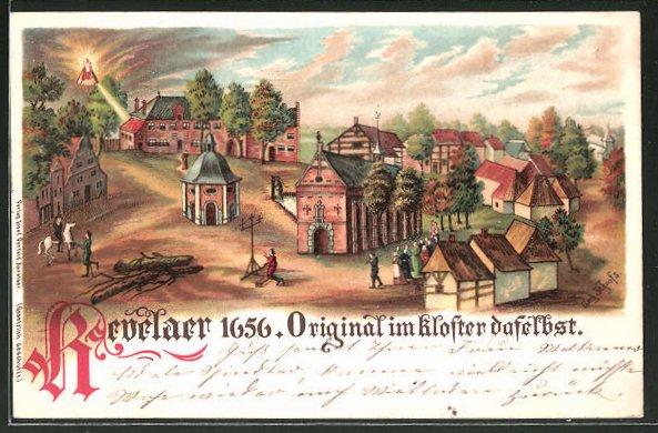 Lithographie Kevelaer, Historische Ansicht vom Klosterleben 1656