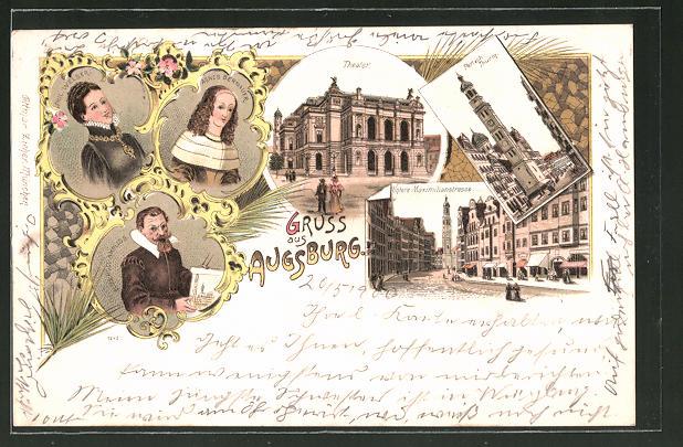 Lithographie Augsburg, Theater, Perlach-Turm, Phil. Welser & Agnes Bernauer