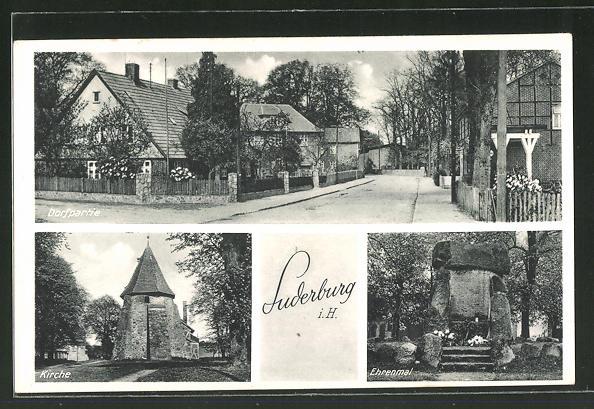 AK Suderburg i. H., Ortspartie, Kirche, Ehrenmal
