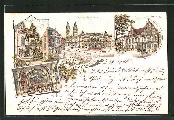 Lithographie Bremen, Rathaus, Dom & Börse, Gewerbehaus, Gasthaus Ratskeller