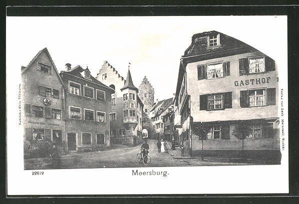 AK Meersburg, Strassenpartie am Gasthaus