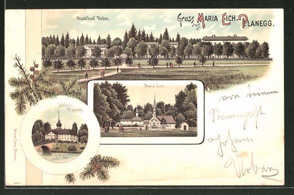 Lithographie Maria Eich-Planegg, Gasthaus Volm, Kirche Maria Eich, Schloss Planegg