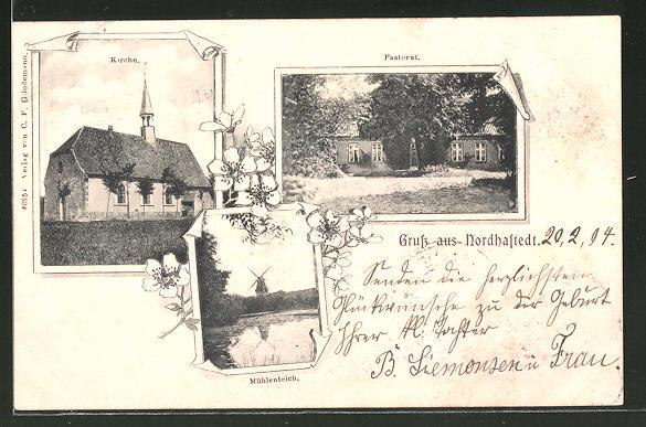 AK Nordhastedt, Pastorat, Kirche, Mühlenteich