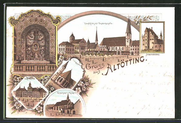 Lithographie Altötting, Engl. Institut, Kapuzinerkirche, Josephsburg