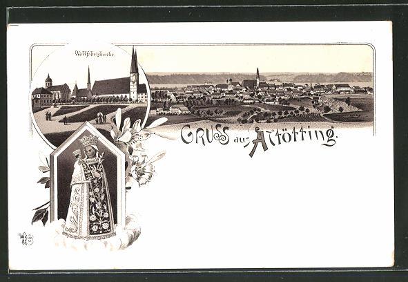 Lithographie Altötting, Wallfahrtskirche, Blick auf die Ortschaft