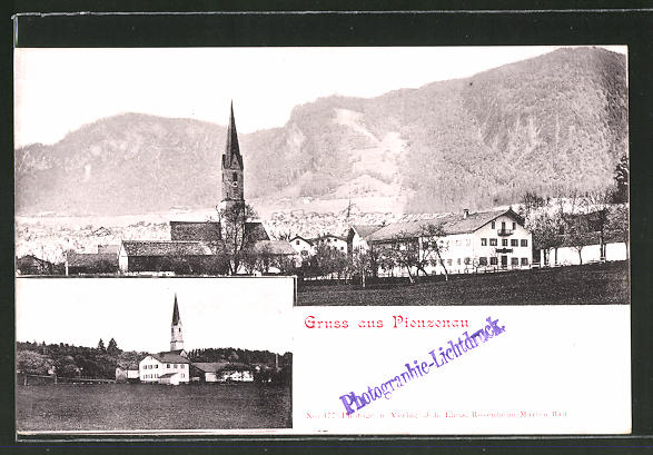 AK Pienzenau, Teilansicht mit Kirche gegen das Gebirge