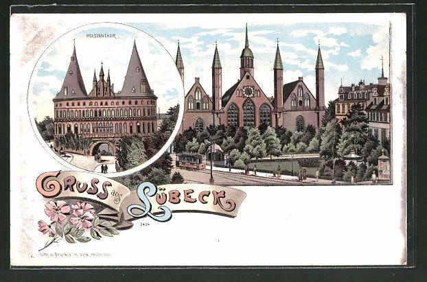 Lithographie Lübeck, Holstenthor, Partie mit Strassenbahn